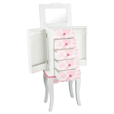 pink jewelry armoire teamson kids fashion prints jewelry armoire giraffe in