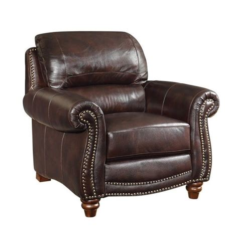 Burgundy Accent Chair Coaster Lockhart Leather Accent Chair In Burgundy Brown 504693