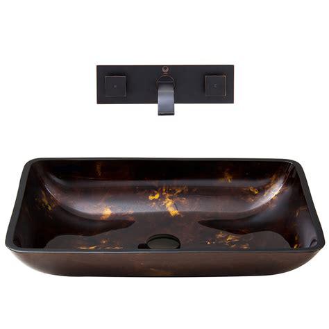 Kitchen Sink Sets Shop Vigo Vessel Bathroom Sets Brown And Gold Tempered Glass Vessel Rectangular Bathroom Sink