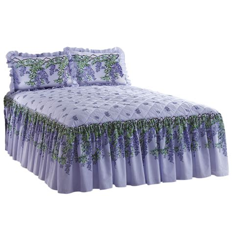 Purple Quilted Bedspreads by Purple Wisteria Pattern Floral Quilted Bedspread Ebay