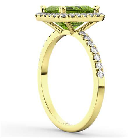 emerald cut peridot engagement ring 14k yellow