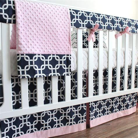 pink and navy crib bedding navy blue and pink girl bumperless crib bedding set
