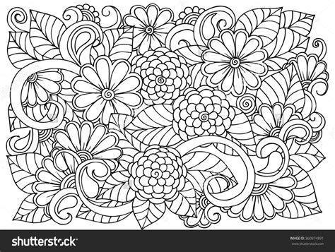 zentangle coloring book doodle floral pattern in black and white page for