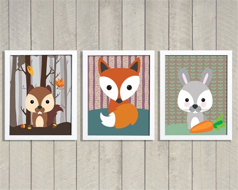 Woodland Animal Nursery Forest Decor Woodland Nursery Art Woodland Animals Nursery Decor