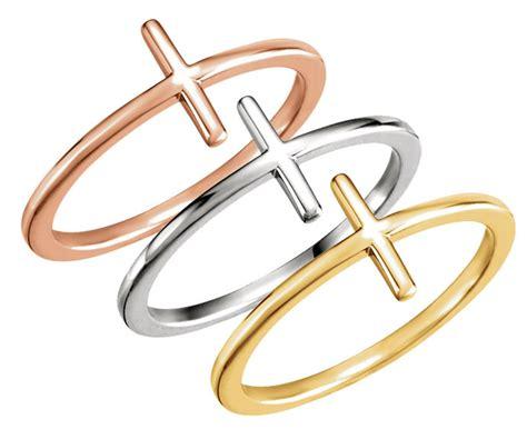 gold sideways cross ring 1288