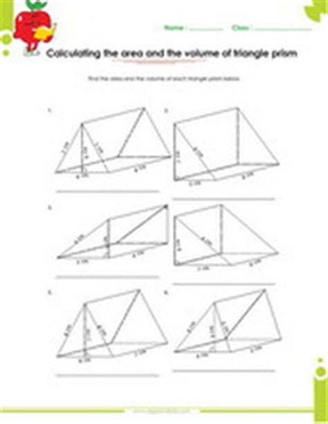 Surface Area Of Triangular Prism Worksheet by Volume Of A Triangular Prism Worksheet Worksheets For