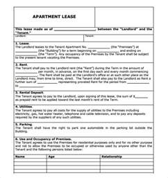 apartment rental agreement template word sle apartment rental agreement template 6 free