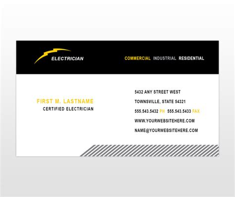 Electrician Business Cards Templates Free by Gallery Electrician Business Cards Ideas