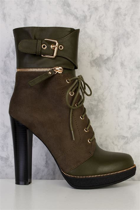 olive lace up high heel combat boots faux suede leather