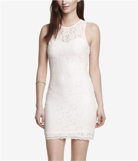 lyst express lace open back romper in pink lyst express sleeveless open back lace sheath dress in white
