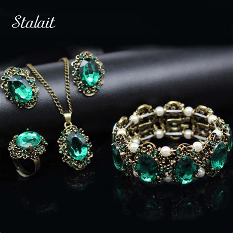 landau jewelry costume jewelry bridal jewelry fashion wedding bridal jewelry sets green crystal antique
