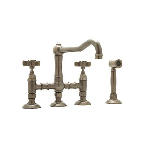 country kitchen two handle widespread bridge faucet with