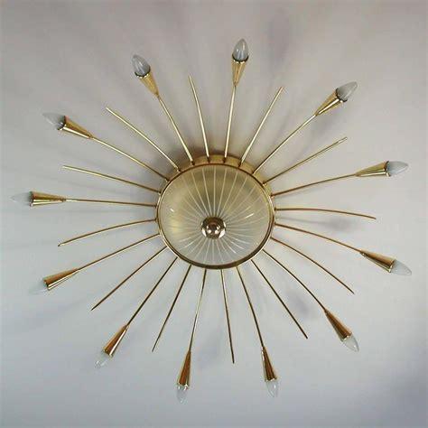 Sunburst Chandelier Mid Century Italian Twelve Light Brass Sputnik Sunburst Chandelier Flush Mount For Sale At 1stdibs