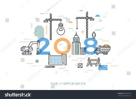design brief engineering 2018 infographic concept 2018 year opportunities plans stock