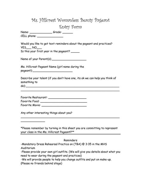 contest registration form template 9 best images of contest entry form template print 5k