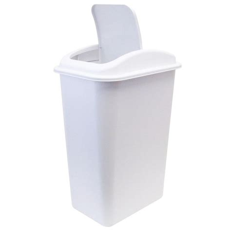 united solutions 41 qt white wastebasket with universal