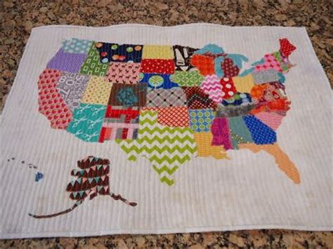 fabric pattern map united states quilt map made with scrap fabrics by