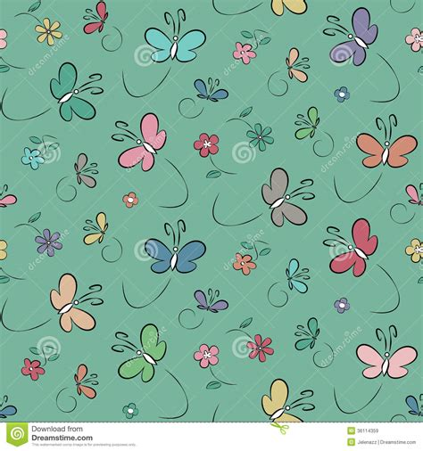 cute green pattern wallpaper butterflies and flowers background royalty free stock