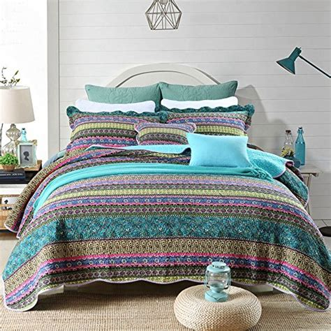 Cotton Bedspreads Size Newlake Striped Jacquard Style Cotton 3 Patchwork