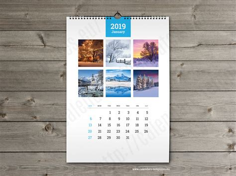 wall calendar  printable photo yearly monthly calendar template