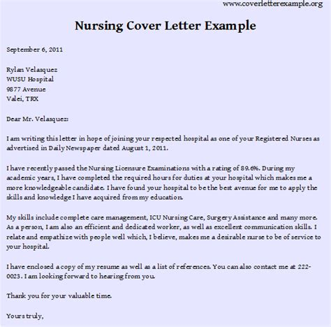 cover letter exle for nursing application nursing cover letter exles best resume format
