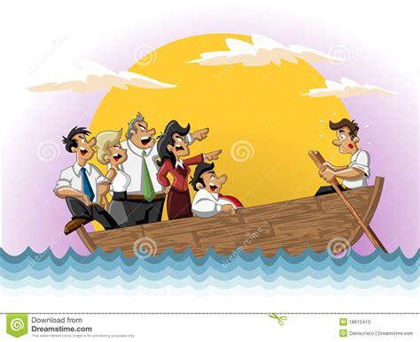 management boat cartoon business cartoon team on boat stock photos image 18615413