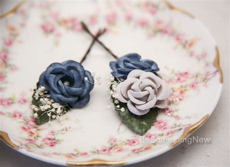 Vintage Wedding Flowers In Hair by Wedding Hair Bobby Pin Set Of Vintage Flowers In Blue And