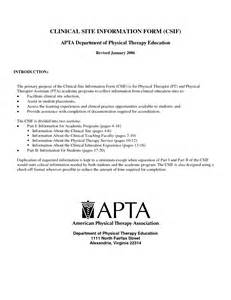clinical site information form for apta department of