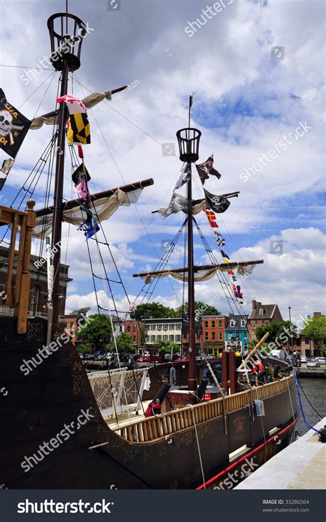 baltimore inner harbor boat rides fake pirate ship offers rides on stock photo 33286564