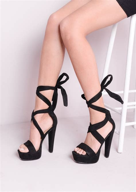 black lace up sandal heels lace up tie back suede block heel platform sandals black