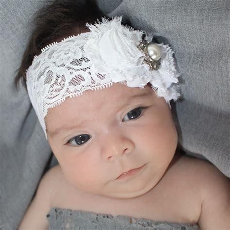 Handmade Baby Headband - baby headband white headband lace headband newborn