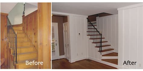before and after old wall paneling primed and painted wood paneling before and after found this before after