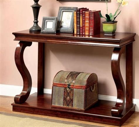console table wood curved elegant accent entry cherry solid foyer sofa entryway  ebay
