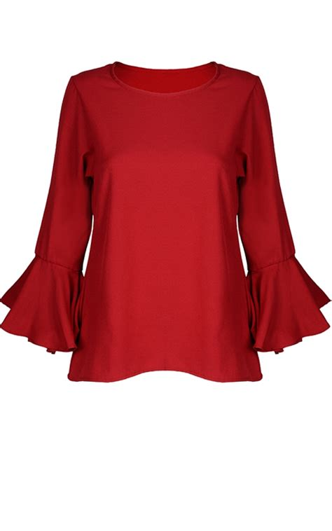 Flared Sleeve Blouse flared trumpet sleeve blouse tops