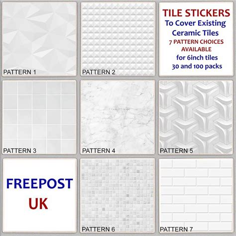 details  white pattern tile sticker decal cover