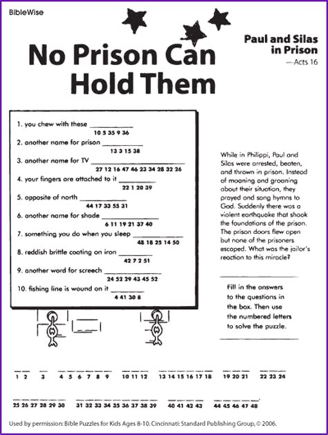 printable games for inmates decode the message paul and silas in prison kids