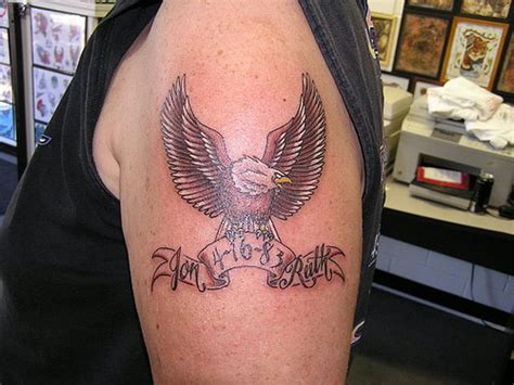 eagle memorial tattoo designs memorial cross on biceps for 187 ideas