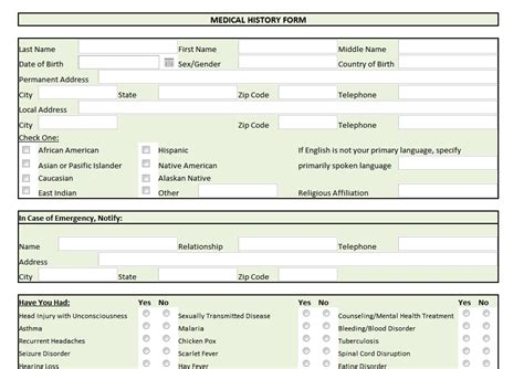 family medical history forms templates