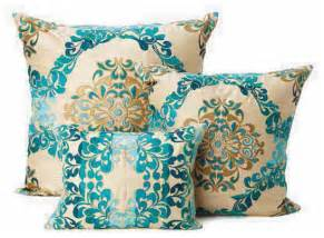 seybert teal brocade throw pillows decorative