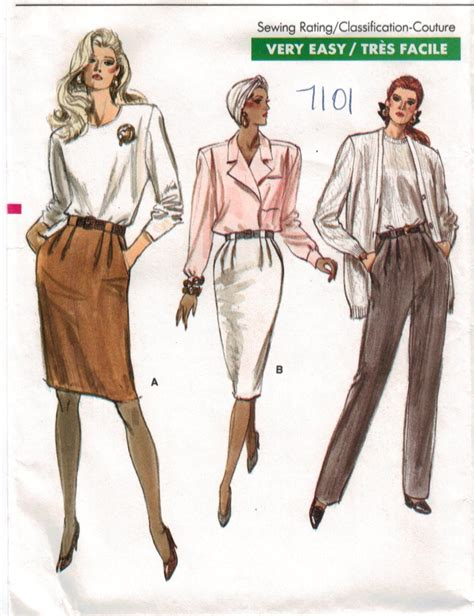 vogue pattern ease vogue pattern 7101 very easy very vogue skirts and pants
