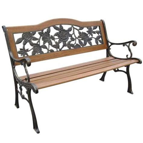 resin park bench parkland heritage rose resin back patio park bench