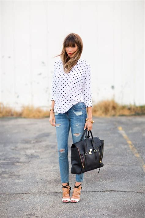 Blouse B 1844 17 images about how to wear the button polka dot