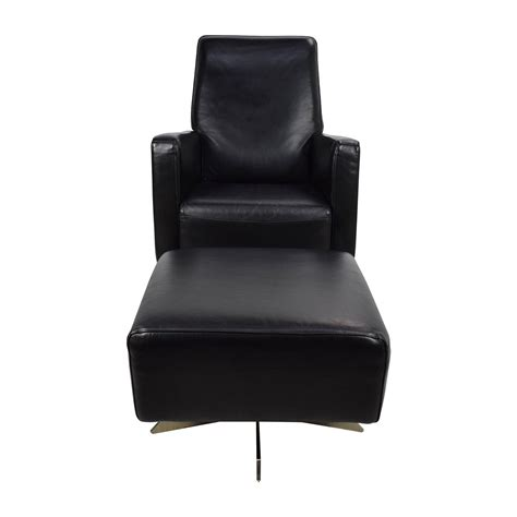 black chair with ottoman 90 off natuzzi natuzzi black leather swivel chair with