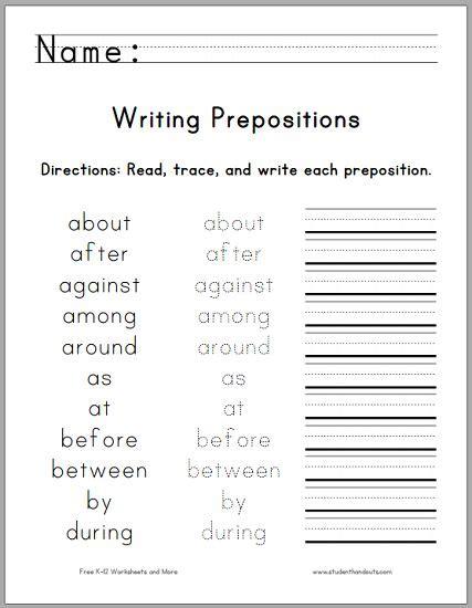 printable handwriting worksheets for 1st grade writing the top 25 prepositions free printable worksheet
