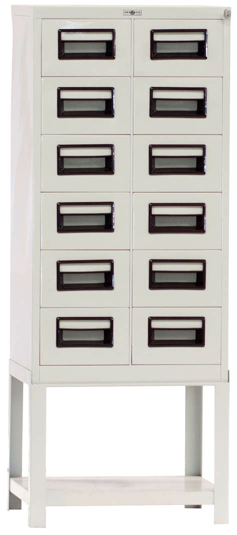 Index Card File Cabinet Steel Index Card File Cabinet 12 Drawers Hermaco Commercial Inc