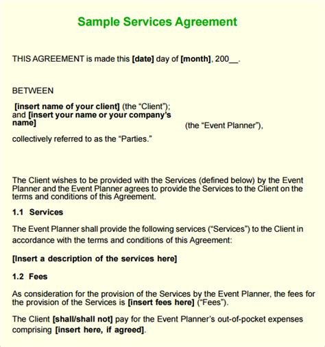 sle service agreement 7 exle format
