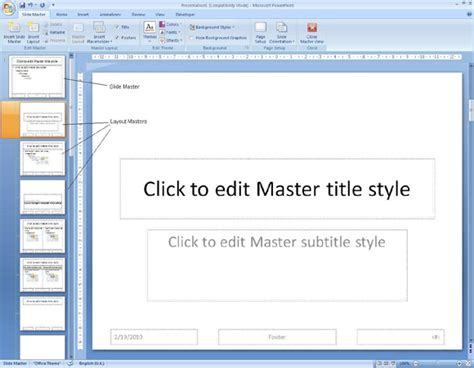how to create a master template in powerpoint using the slide master powerpoint 2007 computergaga