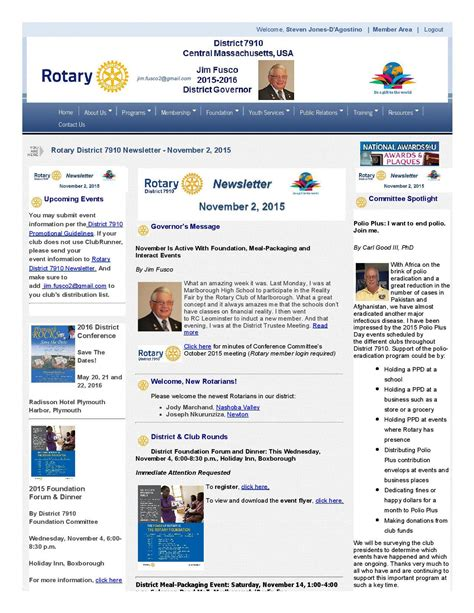 Rotary District 7910 Newsletter November 2 2015 Rotary District 7910 Rotary Bulletin Templates