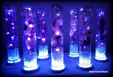 led lights for centerpieces cylinder vase with purple orchids wedding