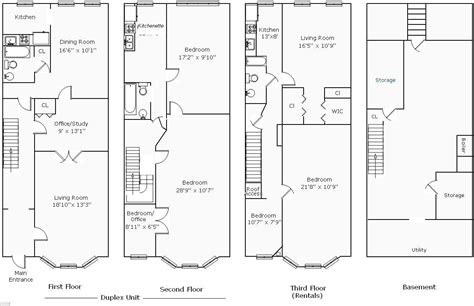Row Home Plans by Rowhouse Floor Plans Find House Plans